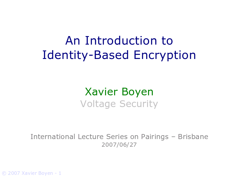thesis on identity based encryption Identity based encryption is a public key based encryption in which the public key of the user contains some distinct information about the user's identity (eg user's email address.